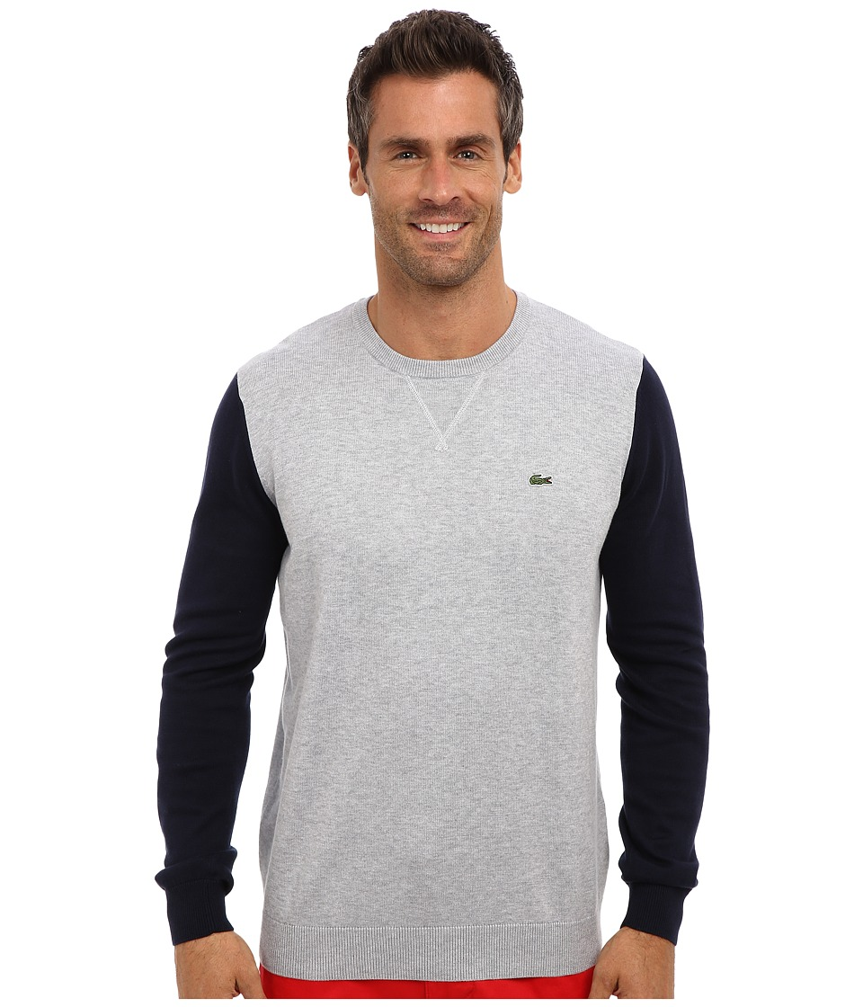 Lacoste - GLC Cotton Color Block Crew Neck Sweater (Silver Grey Chine/Navy Blue) Men
