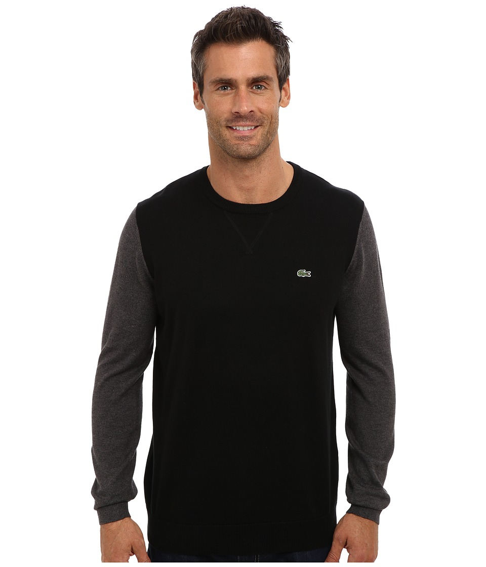 Lacoste - GLC Cotton Color Block Crew Neck Sweater (Black/Granite Chine) Men's Sweater