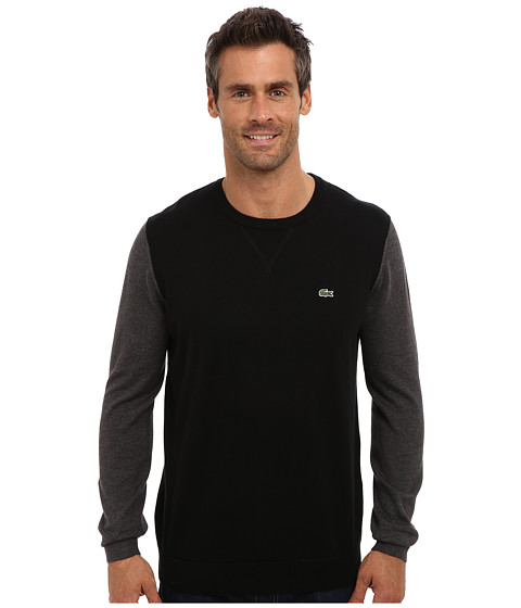 Lacoste - GLC Cotton Color Block Crew Neck Sweater (Black/Granite Chine) Men