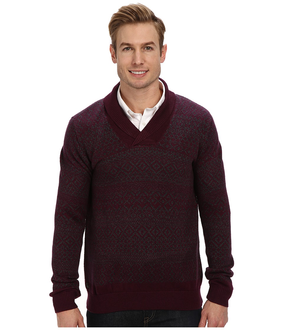 Lacoste - Cotton/Wool Patterned Shawl Collar Sweater (Dark Cherry Red/Granite) Men