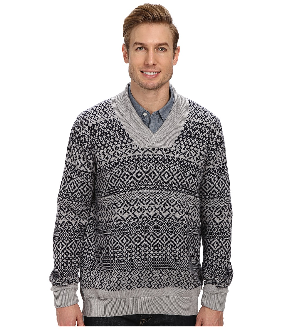 Lacoste Cotton/Wool Patterned Shawl Collar Sweater (Silver Grey Chine/Navy Blue) Men