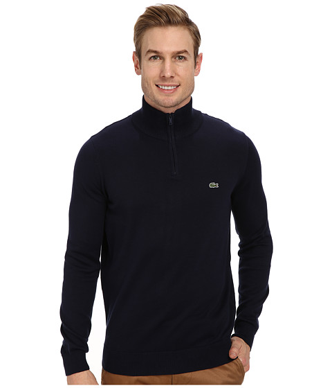 Lacoste - GLC Cotton 1/2 Zip Sweater (Navy Blue) Men's Sweater