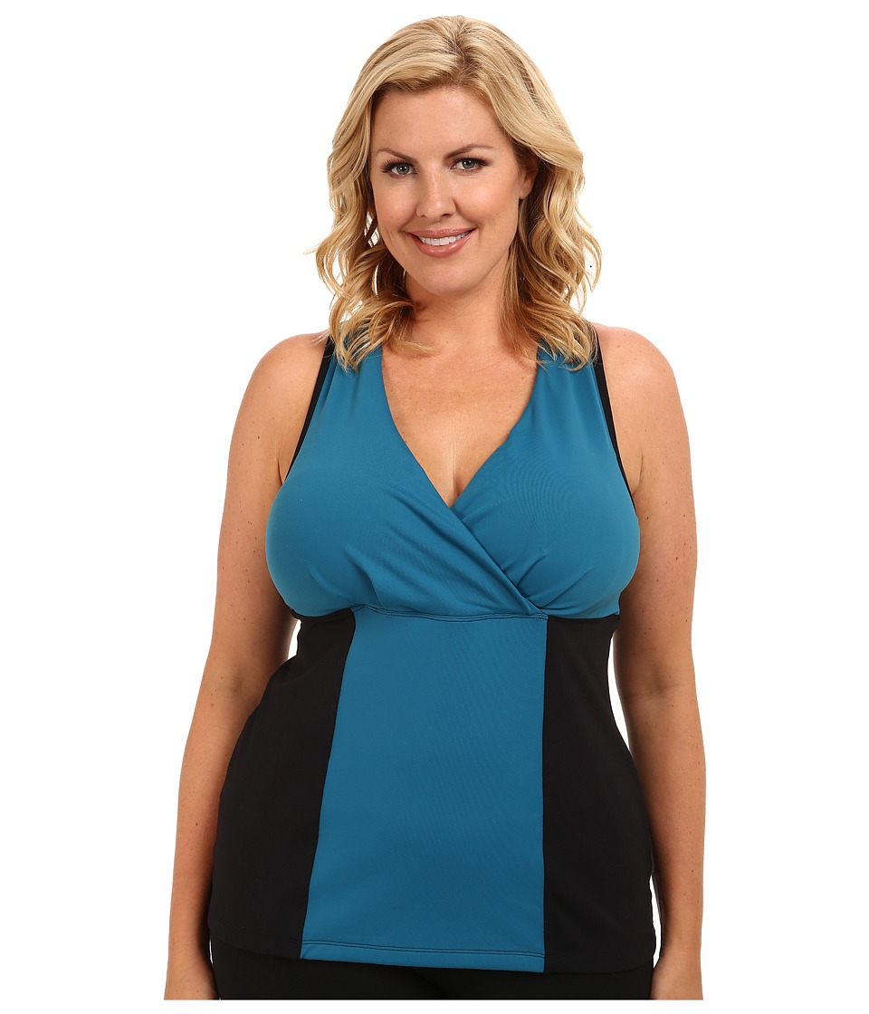 MSP by Miraclesuit - Plus Size Color Block Tank with Interior Bra and Core Control (Teal) Women's Sleeveless