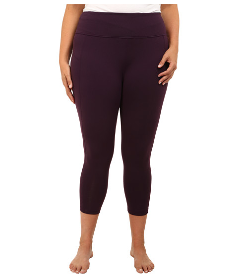 MSP by Miraclesuit - Plus Size Crop Pant Legging with Core Control (Eggplant) Women's Workout