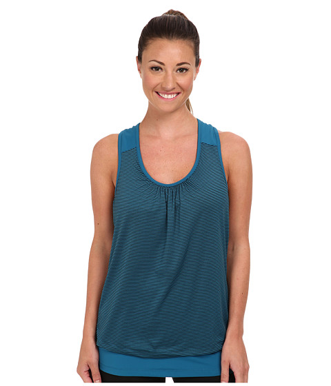 MSP by Miraclesuit - Scoop Neck Stripe Solid Top (Teal) Women's Sleeveless