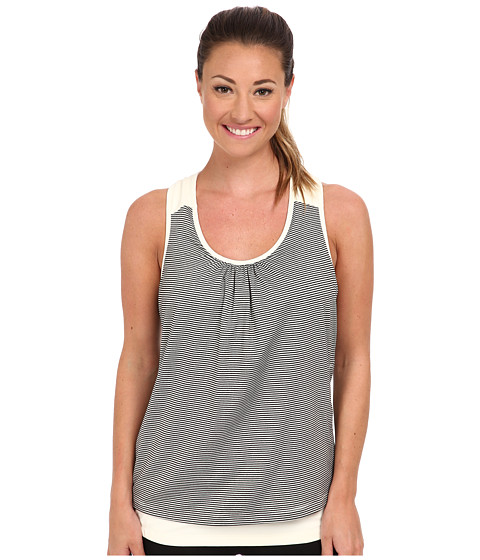 MSP by Miraclesuit - Scoop Neck Stripe Solid Top (Whisper White) Women's Sleeveless