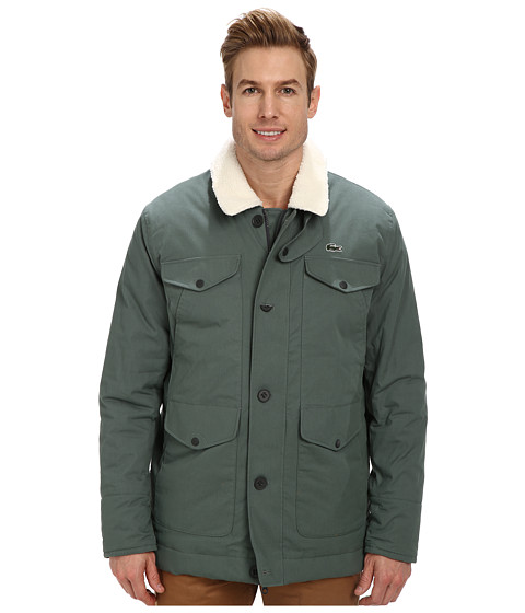 Lacoste - L!VE Ottoman Coat With Sherpa Collar (Iguana/Flour/Quince Yellow) Men