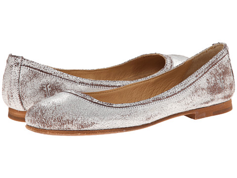 Frye - Carson Ballet (Silver Metallic Suede) Women's Flat Shoes