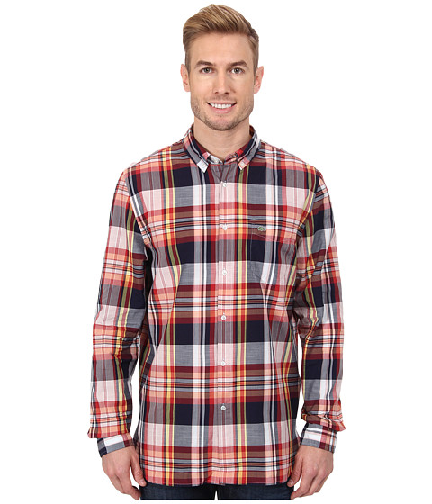 Lacoste - L/S Button Down Indigo Bold Plaid Woven Shirt (Indigo Blue/Blood Orange/Hay Yellow) Men's Long Sleeve Button Up