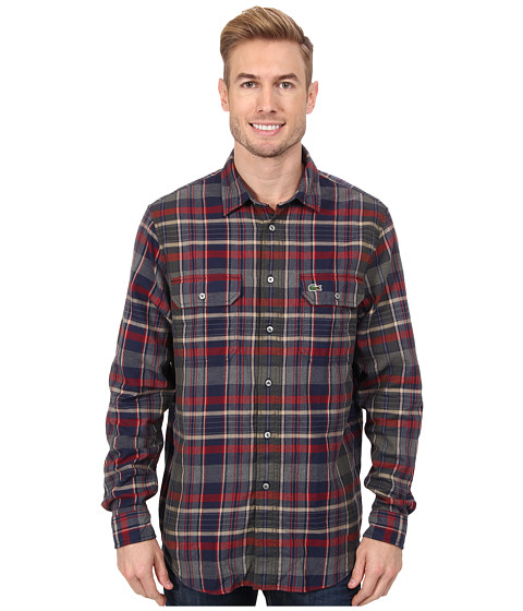 Lacoste - L/S Plaid Flannel Woven Shirt (Boreal Blue/Camouflage Kaki/Oxide Red) Men's Long Sleeve Button Up