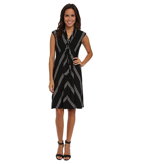 Nine West - Rope Stripe V-Neck A-Line Dress w/ Neck Sash (Black/Ivory) Women's Dress