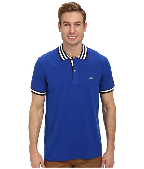 Lacoste - S/S Stripe Inset Pique Polo (Electric Blue/Navy Blue/White) Men's Short Sleeve Button Up