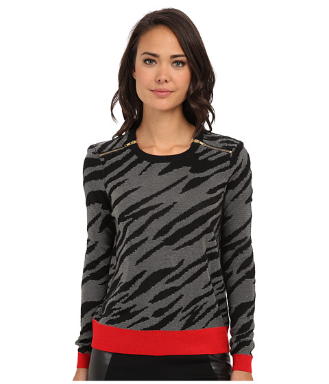 French Connection - Siberian Tiger Knits 78CBL (Red/Sweet Almond/Black) Women's Sweater