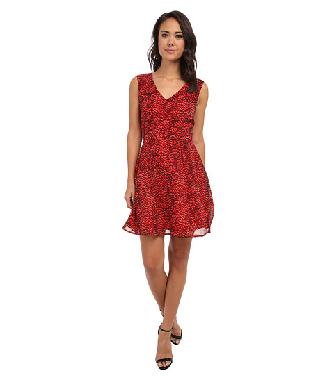 French Connection - Wild Cat Chiffon 71CBO (Royal Scarlet Multi) Women's Dress