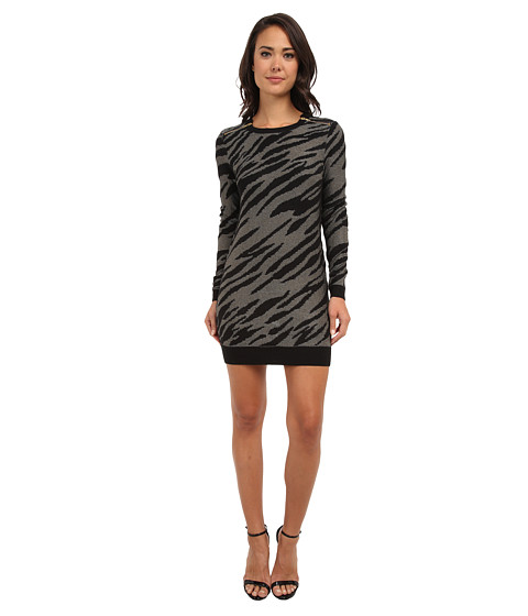 French Connection - Siberian Tiger Knits 71CEF (Black/Sweet Almond/Black) Women's Dress