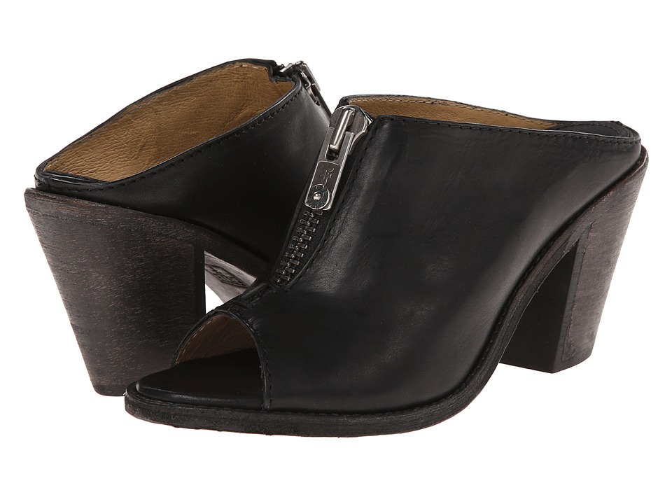 Frye - Izzy Zip Moto (Black Washed Smooth Vintage) High Heels