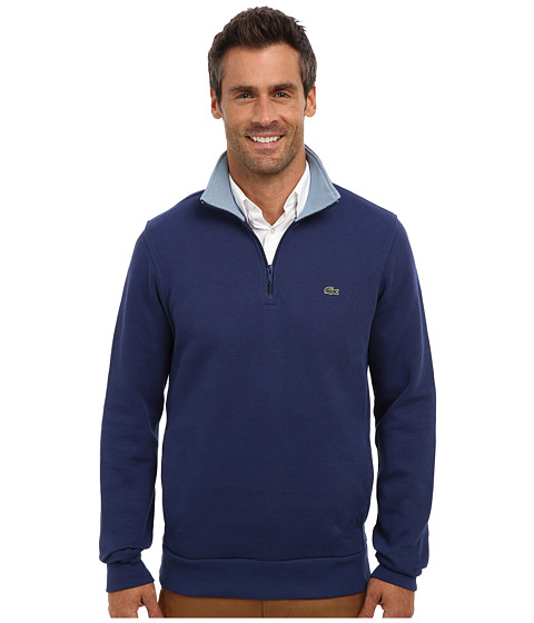 Lacoste - Half Zip Lightweight Sweatshirt w/ Logo At Neck (Odyssey/Squadron) Men's Sweatshirt