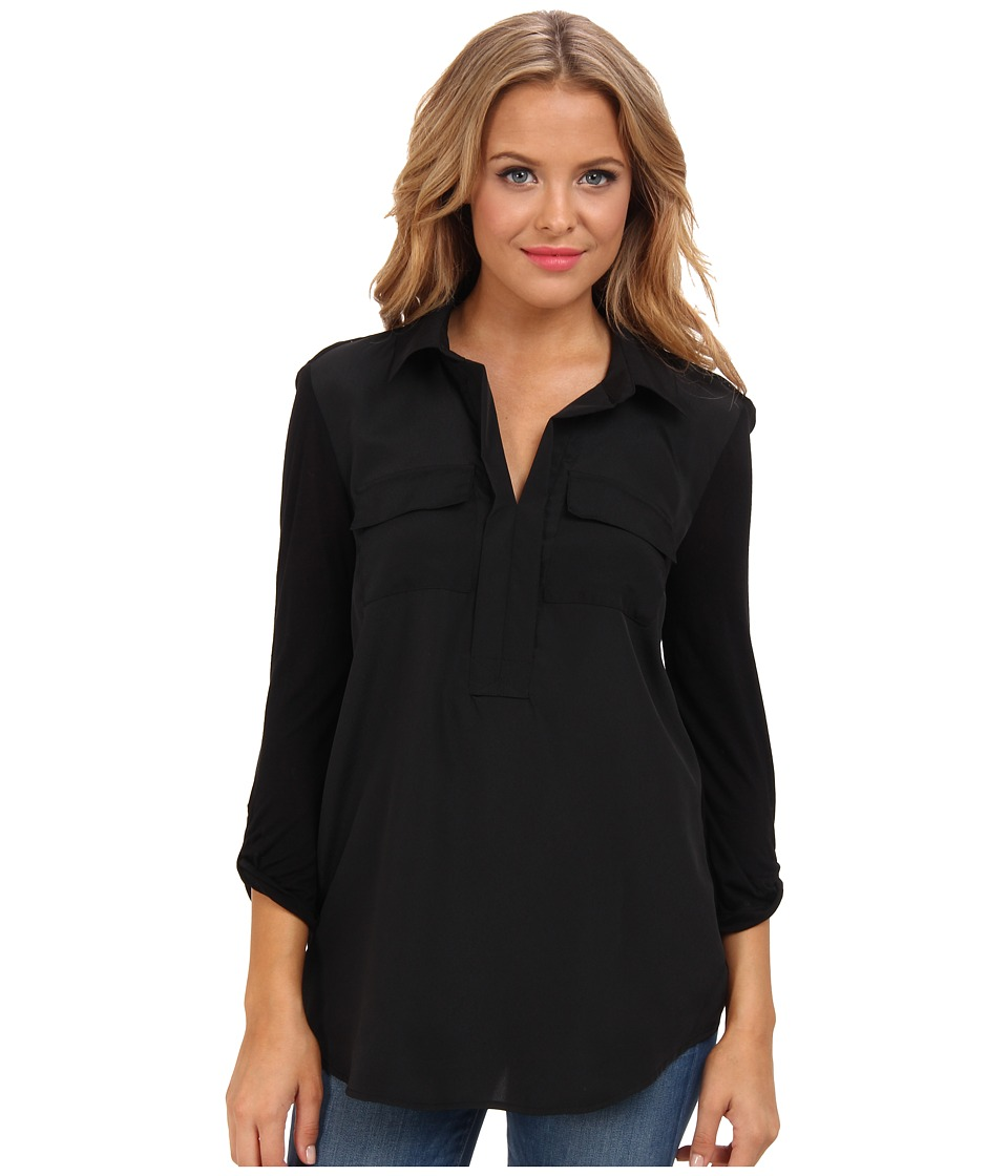kensie - Soft Crepe Top (Black) Women's Blouse
