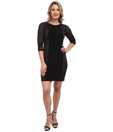Nine West - Mini Mesh Stripe 3/4 Sleeve Shift Dress w/ CF Jersey Panel (Black) Women's Dress