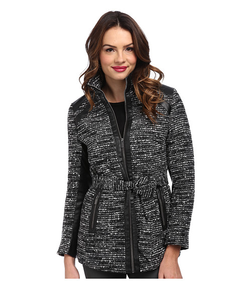 KC Collections - Nubby Tweed Faux Leather Trim Jacket (Black/White) Women's Coat