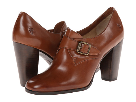 Frye - Laurie Monk (Cognac Smooth Polished Veg) High Heels