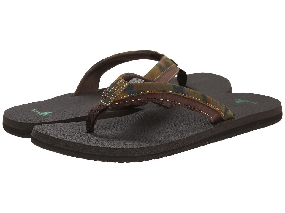 Sanuk - Beer Cozy Primo Light (Camo/Dark Brown) Men's Sandals