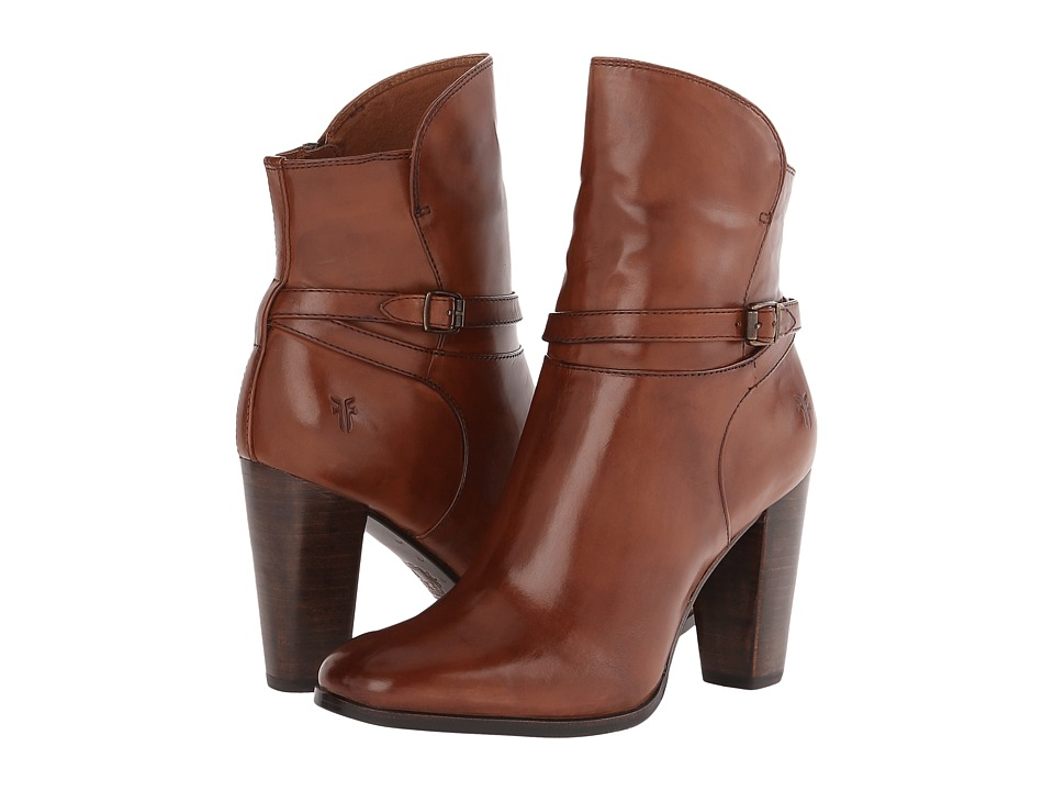 Frye - Laurie Zip Short (Cognac Smooth Polished Veg) Cowboy Boots