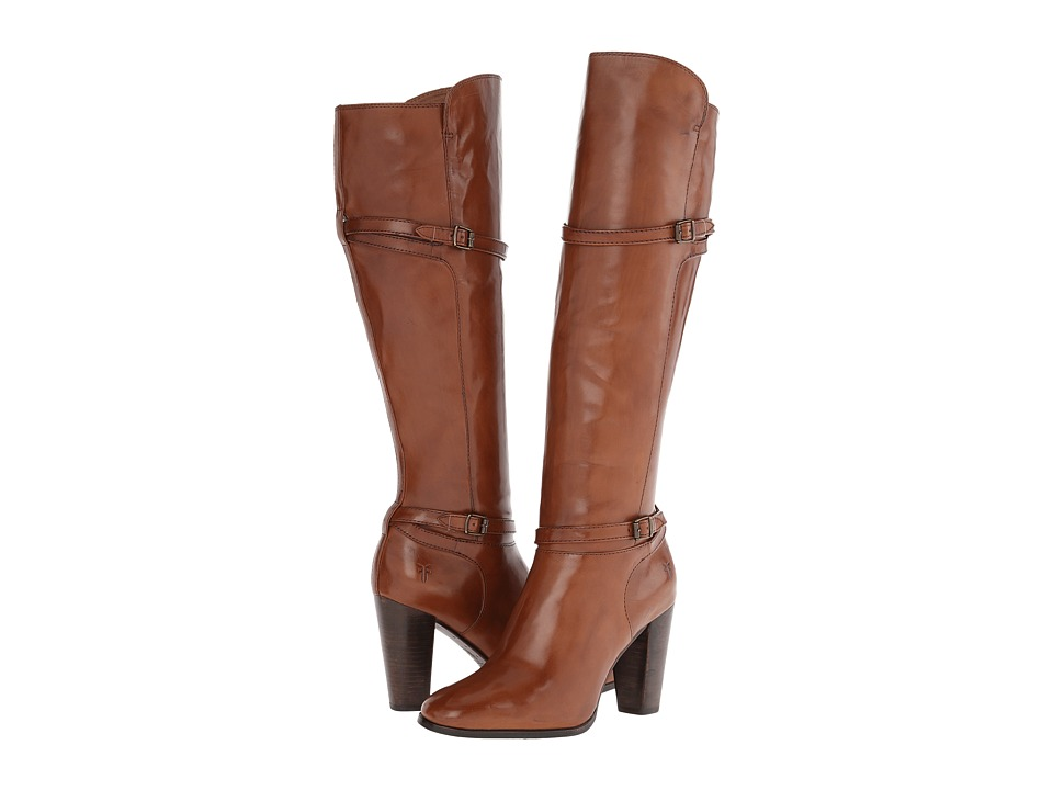 Frye - Laurie Zip Tall (Cognac Smooth Polished Veg) Cowboy Boots