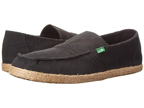 Sanuk - Commodore Stretch (Black Hazy Palms) Men's Slip on Shoes