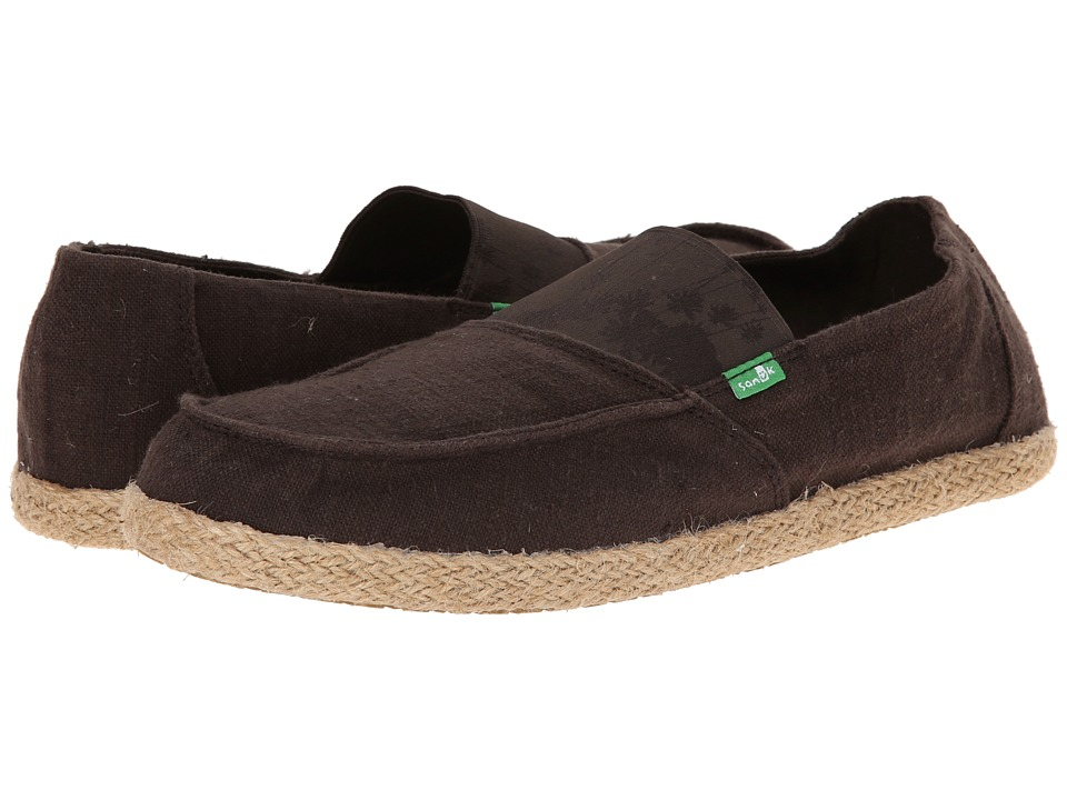 Sanuk - Commodore Stretch (Brown Hazy Palms) Men's Slip on Shoes