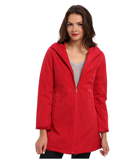 KC Collections - Faux Silk Hooded Stadium (Red) Women's Coat