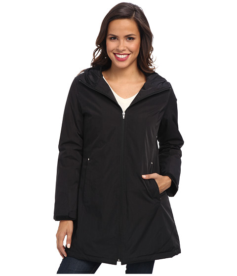 KC Collections - Faux Silk Hooded Stadium (Black) Women's Coat