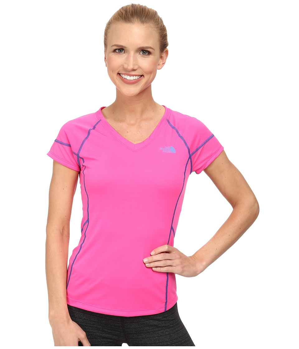 The North Face - Reactor V-Neck S/S (Glo Pink/Glo Pink) Women's Short Sleeve Pullover