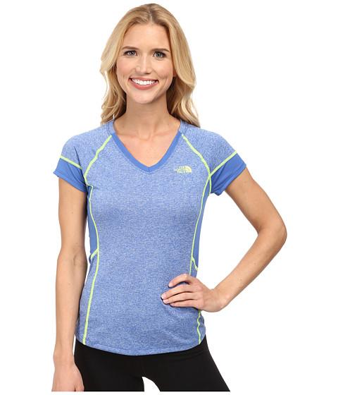The North Face - Reactor V-Neck S/S (Coastline Blue Heather/Coastline Blue) Women's Short Sleeve Pullover