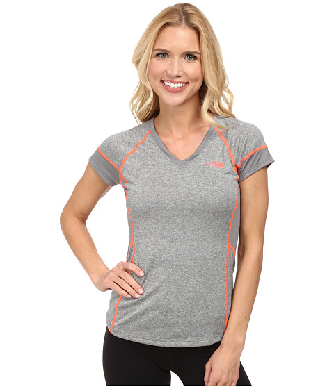 The North Face - Reactor V-Neck S/S (Sedona Sage Grey Heather/Sedona Sage Grey) Women's Short Sleeve Pullover