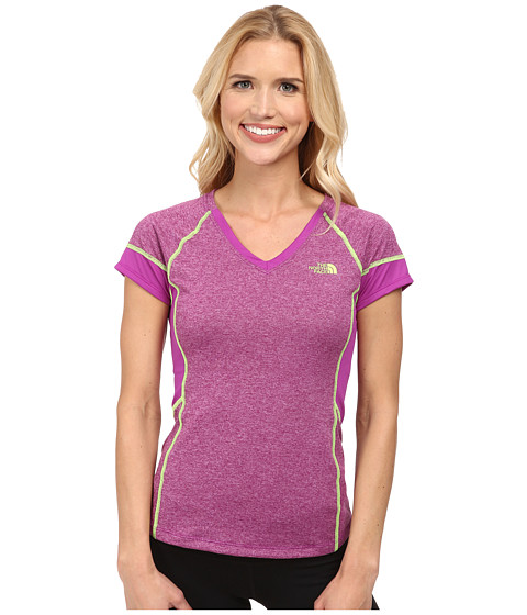 The North Face - Reactor V-Neck S/S (Magic Magenta Heather/Magic Magenta) Women