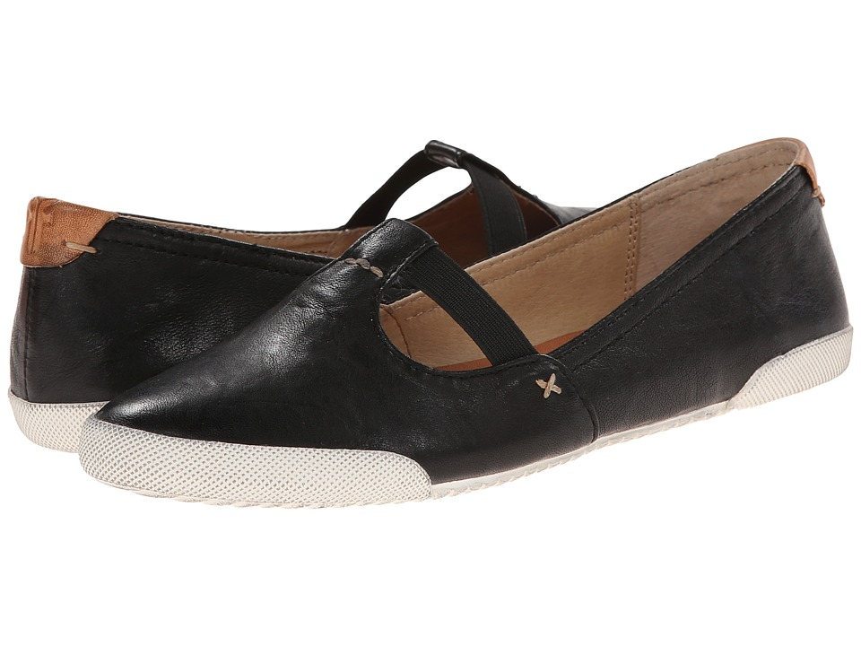 Frye - Melanie T Strap (Black Antique Soft Vintage) Women's Flat Shoes
