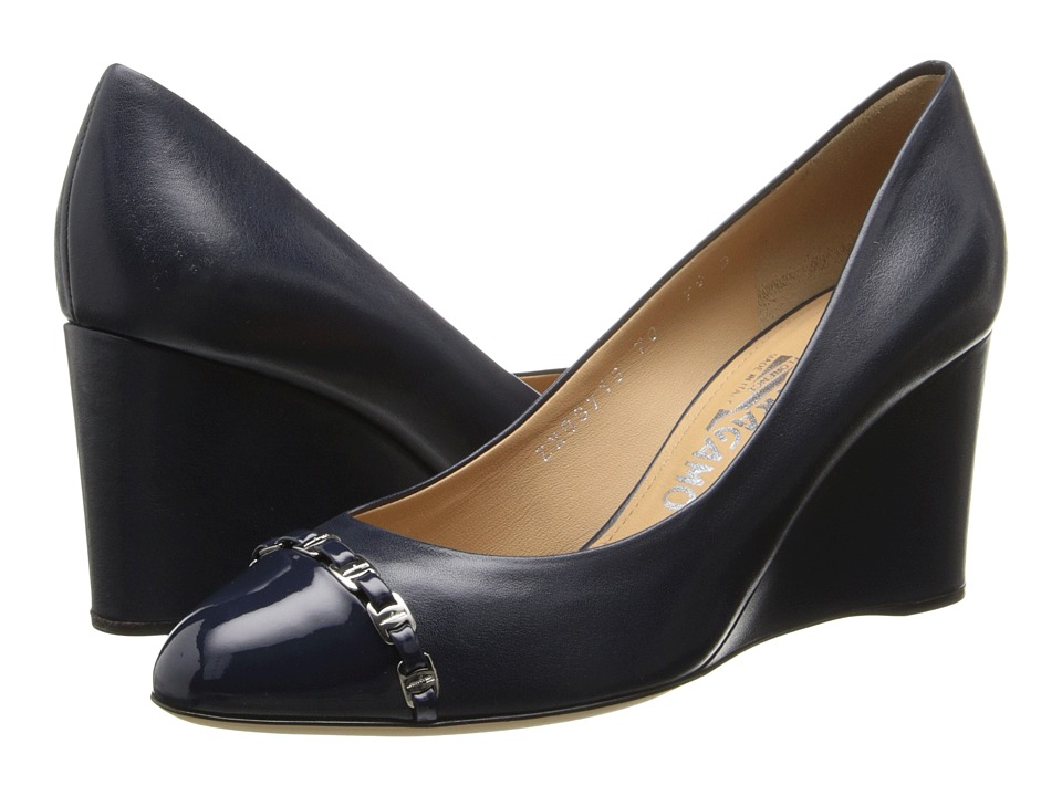 Salvatore Ferragamo - Nana' (Oxford Blue) Women's Wedge Shoes