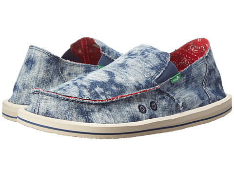 Sanuk - Donny Acid (Washed Denim) Men's Slip on Shoes