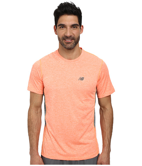 New Balance - Short Sleeve Heather Training Tee (Bold Citrus Heather) Men