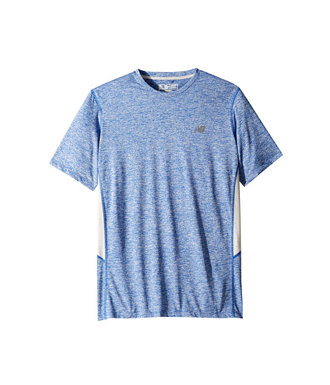 New Balance - Short Sleeve Heather Training Tee (Optic Blue Heather) Men