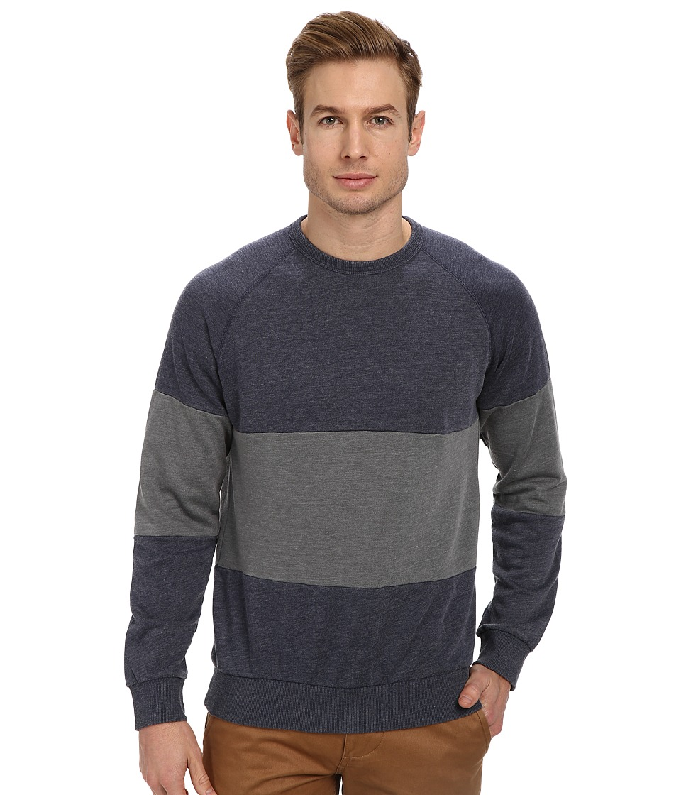 Alternative - Light French Terry Crew Neck Panel (Midnight/Nickel) Men's Long Sleeve Pullover