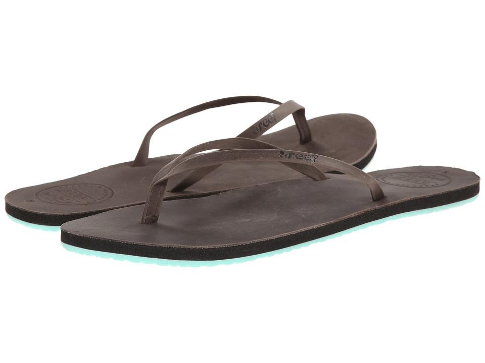 Reef - Leather Uptown (Black/Blue) Women's Sandals