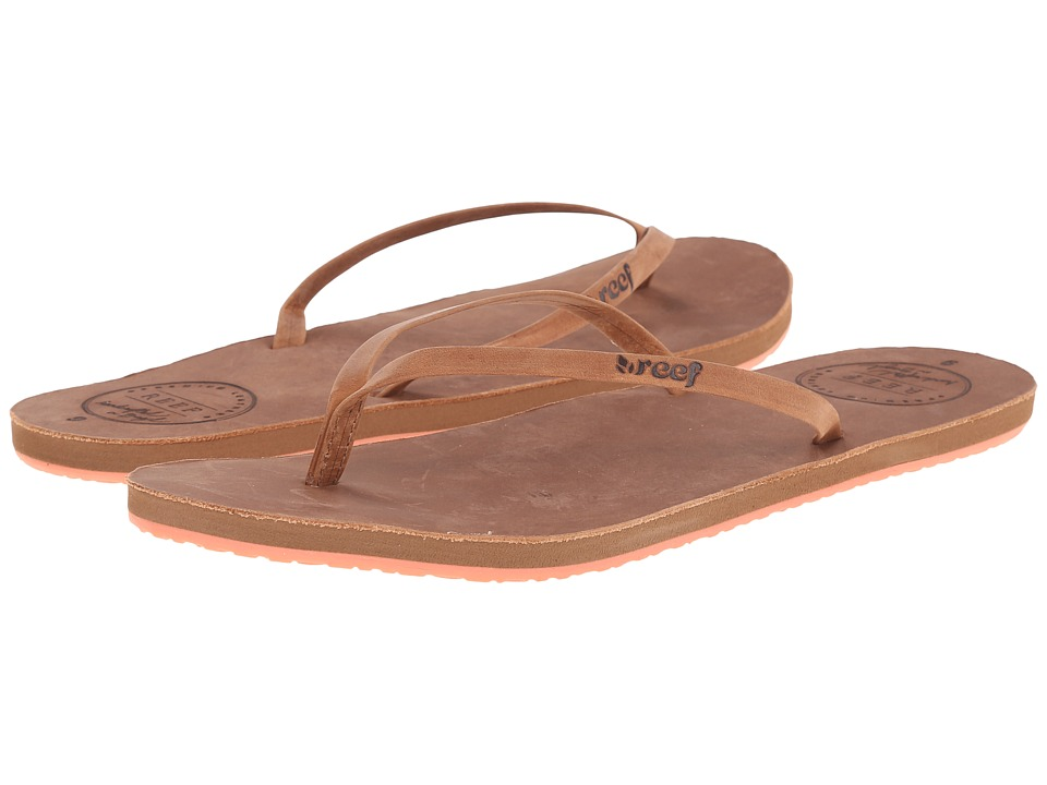 Reef - Leather Uptown (Brown/Coral) Women's Sandals