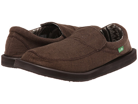 Sanuk - Chiba Stitched (Dark Brown) Men's Slip on Shoes