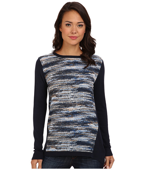 DKNYC - L/S Windswept Crepe De Chine Printed Front Pullover (Nightfall Combo) Women