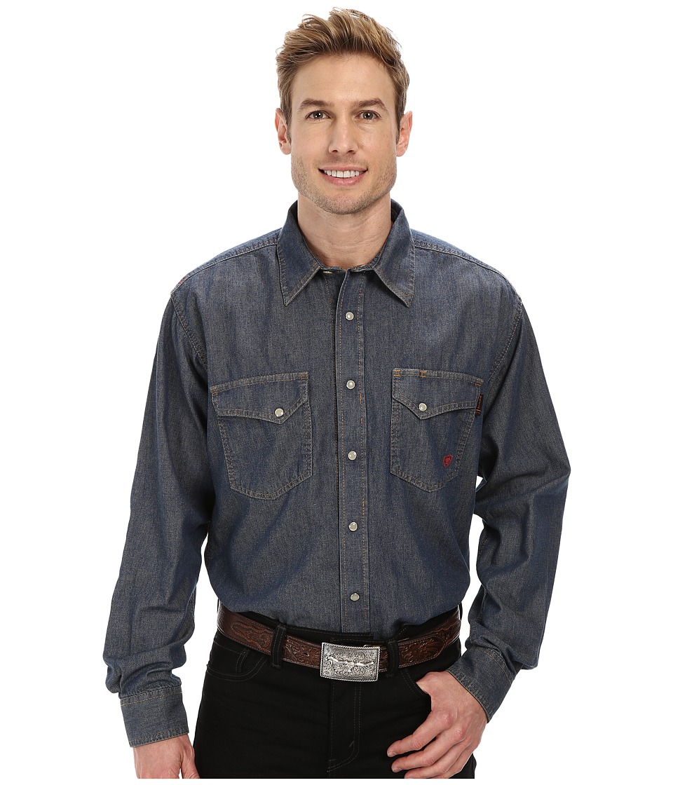 Ariat - FR Denim Work Snap Shirt (Slate) Men's Long Sleeve Button Up