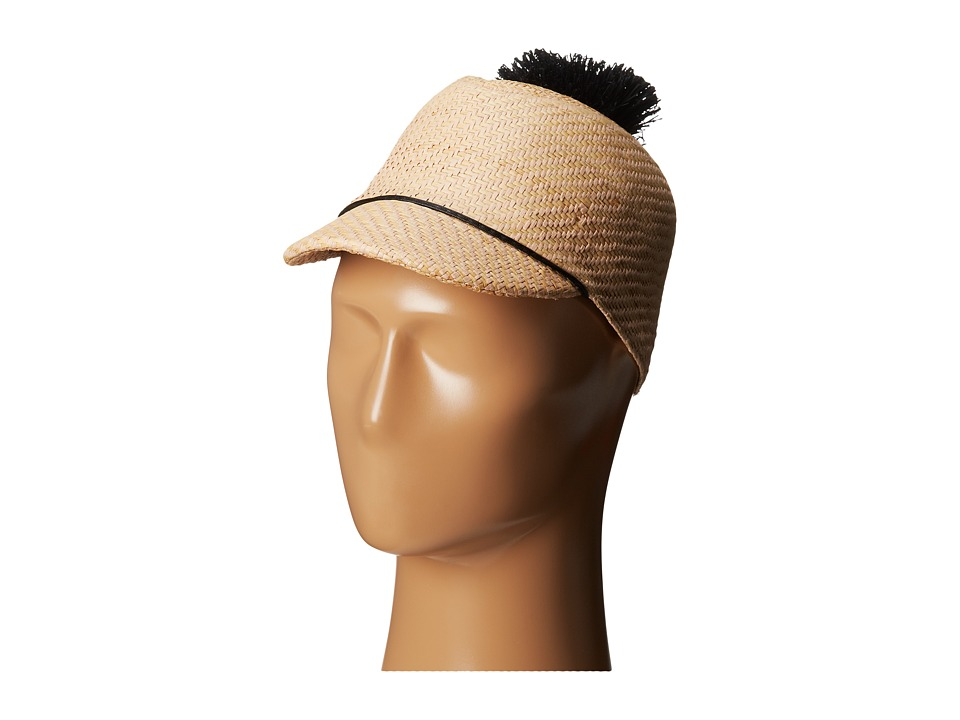 BCBGMAXAZRIA - Solid Straw Pom Cap (Light Straw) Caps