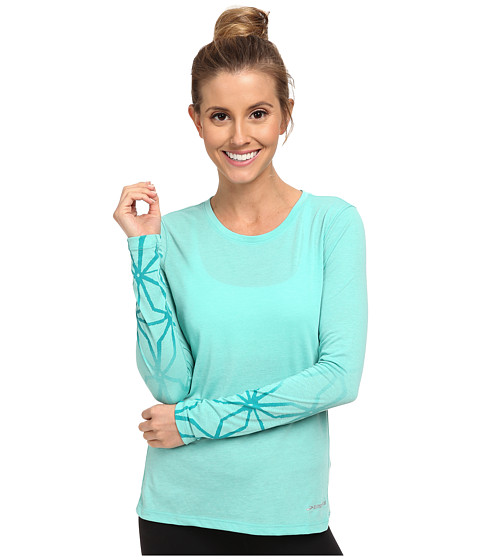 Brooks - Versatile Printed L/S IV (Heather Lagoon) Women's Long Sleeve Pullover