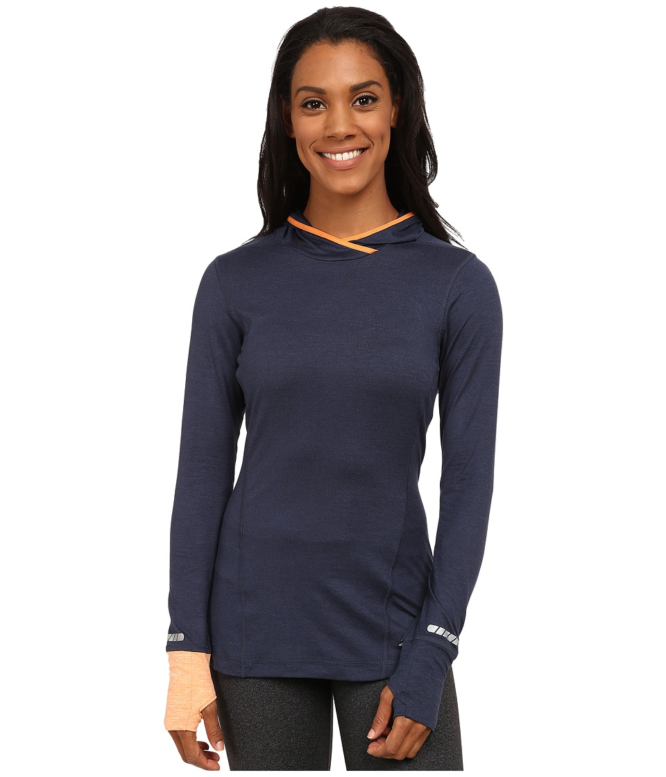 Brooks - Essential L/S Hoodie (Heather Midnight/Heather Creamsicle) Women